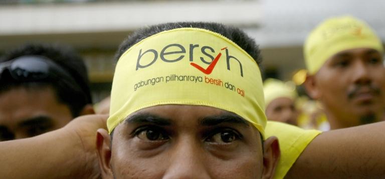 <p>A Bersih demonstrator in Kuala Lumpur, Nov. 10, 2007.</p>