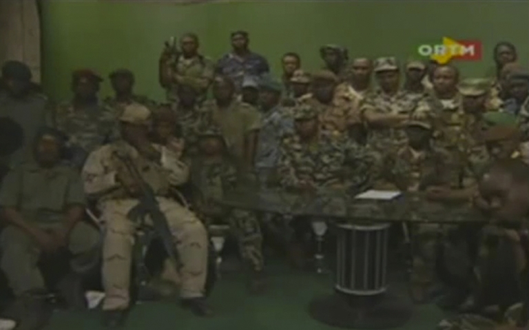 <p>Rebel soldiers announce on Malian state TV that they have seized control of the country, suspending the constitution and dissolving institutions because of Mali's