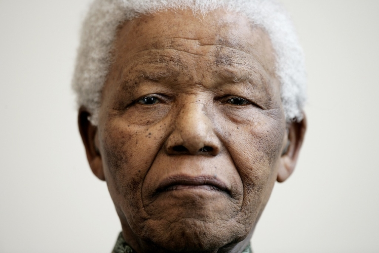 <p>Nelson Mandela attends a photocall ahead of tonight's '46664 Arctic' concert, at the Rica Hotel on June 11, 2005 in Tromso, Norway.</p>