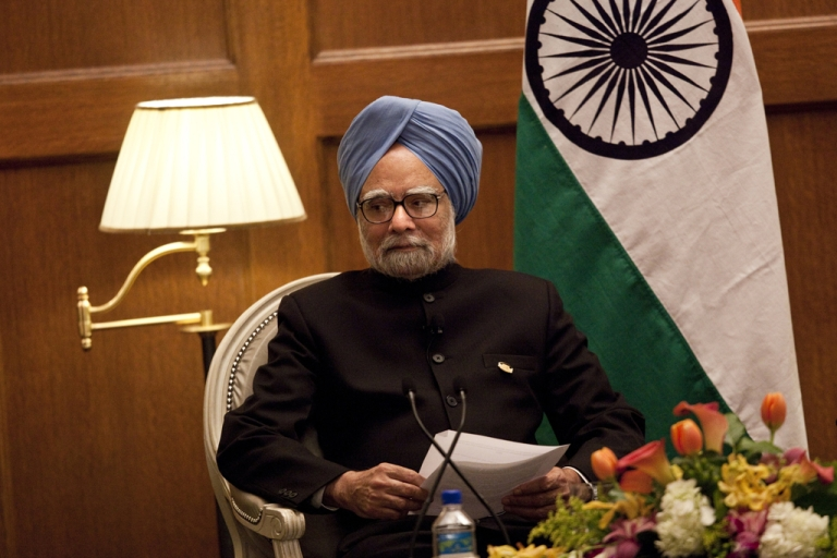 <p>India Prime Minister Manmohan Singh at a press conference after attending a nuclear summit April 13, 2010 in Washington, DC.</p>
