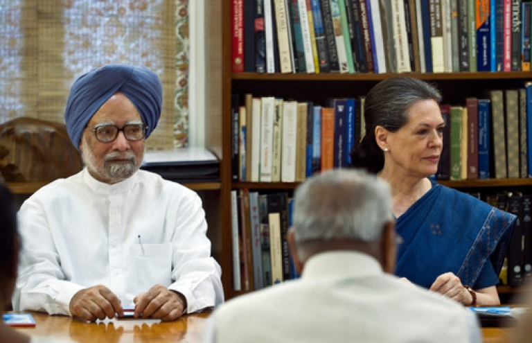 <p>Indian Prime Minister Manmohan Singh (L) and Congress Party President Sonia Gandhi attend the Congress Working Committee (CWC) meeting in New Delhi on June 25, 2012.</p>
