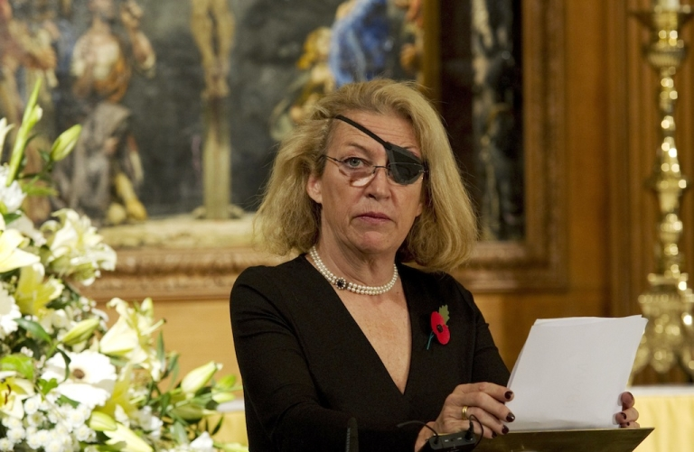 <p>LONDON - NOVEMBER 10: Marie Colvin of The Sunday Times, gives the address during a service at St. Bride's Church November 10, 2010 in London, England.  The service commemorated journalists, cameramen and support staff who have fallen in the war zones and conflicts of the past decade. (Photo by Arthur Edwards - WPA Pool/Getty Images)</p>