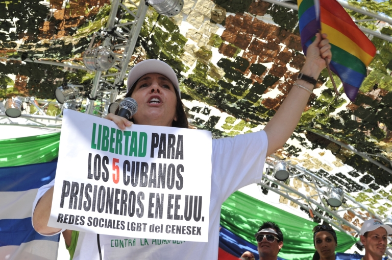 <p>Director of Cuba's National Center for Sexual Education, Mariela Castro, who is the daughter of President Raúl Castro, speaks during a march in Havana against homophobia on May 14.</p>