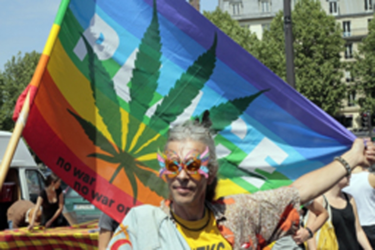 <p>A man poses with a peace flag with a cannabis leaf as he takes part in a rally on May 7, 2011, in Paris.</p>