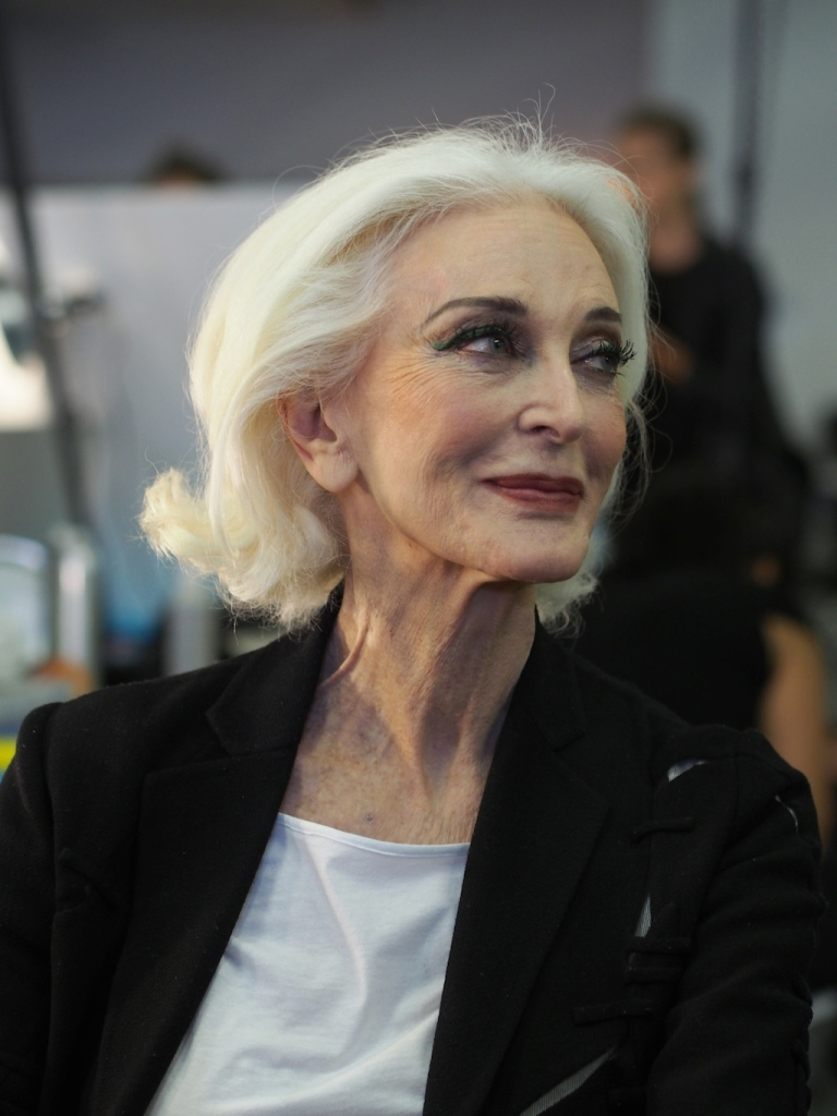 <p>Legendary model Carmen Dell'Orefice, 81, awaits her turn at the make-up table backstage at the Marimekko spring-summer 2013 show during New York fashion week. Dell'Orefice, regarded by many as the original supermodel, walked the Norisol Ferrari and Marimekko shows back to back.</p>