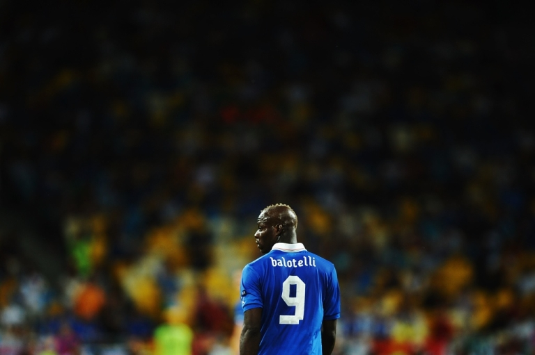 <p>Mario Balotelli of Italy after the final match between Spain and Italy at the Olympic Stadium on July 1, 2012 in Kiev, Ukraine.</p>