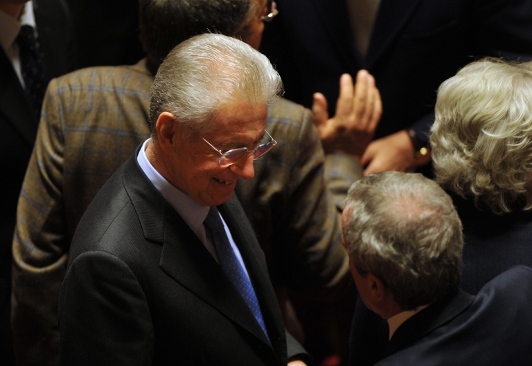 <p>Mario Monti, probable replacement for Silvio Berlusconi as Italian Prime Minister, arrives for Friday's vote in the italian Senate on an austerity package.</p>