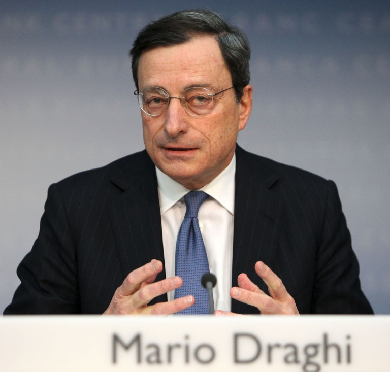 <p>Mario Draghi at his monthly press conference today.  His words were like balm on troubled financial market waters</p>