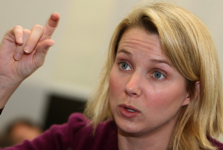 <p>Yahoo CEO Marissa Mayer gestures during an interview in Munich, Germany on Jan. 21, 2008.</p>
