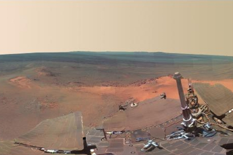 <p>Part of the Mars panorama released by NASA that combines 817 images taken by the panoramic camera on the Mars Exploration Rover Opportunity.</p>