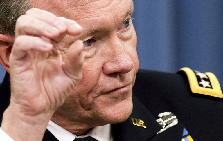 <p>Chairman of the Joint Chiefs of Staff General Martin Dempsey speaks during a press briefing with US Secretary of Defense Leon Panetta at the Pentagon in Washington, DC, May 10, 2012.</p>