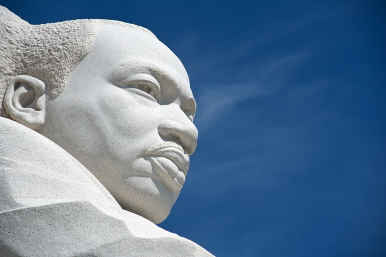 <p>The statue of civil rights leader Martin Luther King, Jr. is seen at the MLK Memorial in Washington, DC.</p>