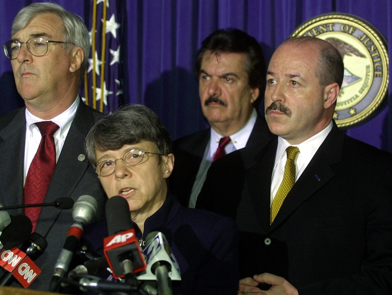 <p>Mary Jo White in May 2001, speaking about the guilty verdicts in the trial of four Osama bin Laden followers who bombed two US embassies in East Africa. Then US Attorney for the Southern District of New York, White headed the prosecution team which found the four guilty on all 302 counts.</p>