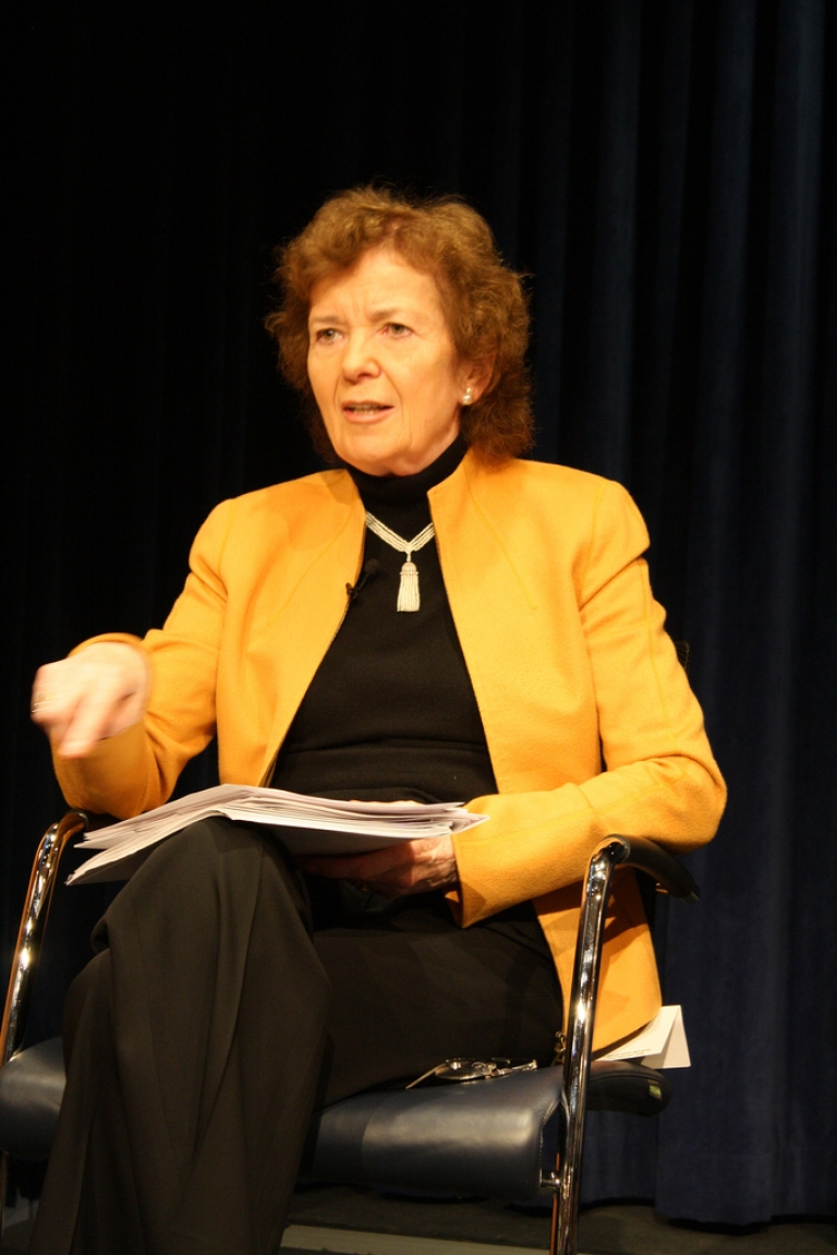 <p>Mary Robinson, former president of Ireland, speaks at a panel organized by Aspen Global Health and Development on global warming and family planning on Jan. 13, 2012.</p>