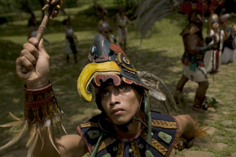 <p>A Mayan actor performs at the Tak'Alik A'Baj archaeological site south of Guatemala City on June 21, 2012, during the celebration of the beginning of the summer solstice, which ends on December 21 when concludes the current Mayan cycle  known as Bak'tun 13, which for some experts will coincide with the end of the world.</p>
