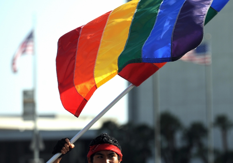 <p>A UCLA student attends a protest rally in Westwood, Calif., on May 26, 2009, following a California Supreme Court decision to uphold Proposition 8, which outlawed gay marriage.</p>
