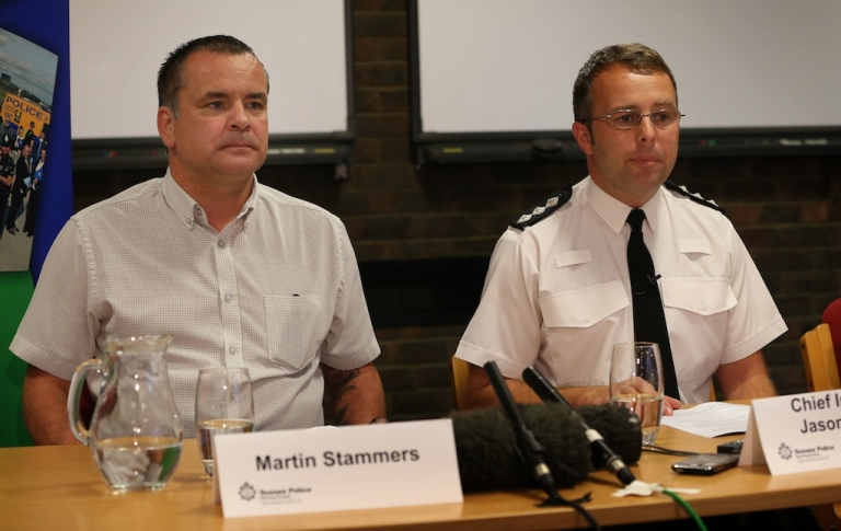 <p>Martin Stammers, the father of Megan Stammers, talks to reporters at Sussex Police headquarters on September 28, 2012 in Lewes, England. Missing 15 year old schoolgirl Megan Stammers has been taken into protective custody after being found by French police in Bordeaux. Her school maths teacher 30 year old Jeremy Forrest, with whom she went missing 8 days ago, has arrested on suspicion of child abduction.</p>