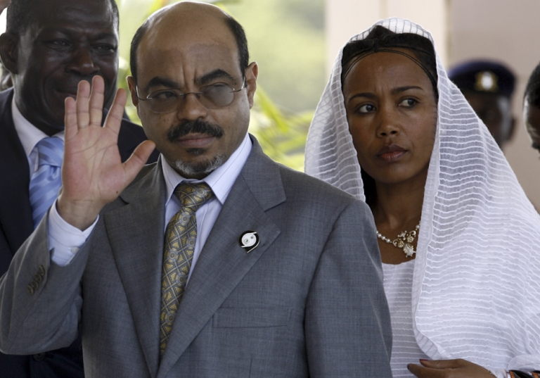 <p>A picture taken July 1, 2007 shows Ethiopian prime minister Meles Zenawi and his wife arriving at the international conference center in Accra before the opening of the African Union summit. Meles Zenawi has died in hospital abroad, a spokesman for Ethiopia's government said on August 21, 2012.