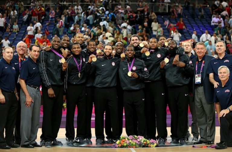 <p>The USA men's team pose with their medals after the Men's Basketball gold medal game on Day 16 of the London 2012 Olympics Games at North Greenwich Arena on August 12, 2012 in London, England.</p>