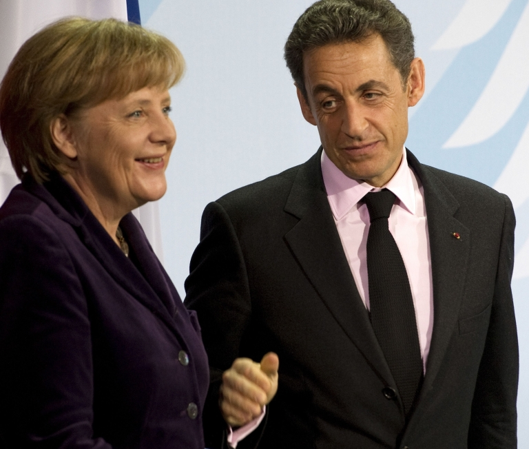 <p>Germany Chancellor Angela Merkel and French President Nicolas Sarkozy were speaking at a joint news conference in Berlin after meeting to discuss ways of boosting eurozone states' growth.</p>