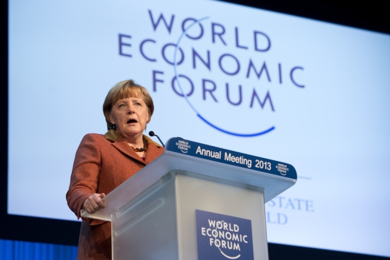 <p>German Chancellor Angela Merkel addresses a session of the annual World Economic Forum (WEF) meeting in the Swiss resort of Davos. The WEF will see top politicians and business leaders pursue talks on whether they have seen the back of the global financial crisis. Meanwhile, the situation in Greece gets further out of hand.</p>