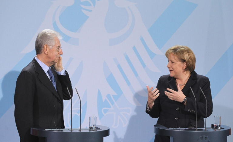 <p>Heckuva job, Monti, or words to that effect, as German Chancellor Angela Merkel praises Italian Prime Minister Mario Monti today for the reforms he has already brought to the Italian economy.</p>