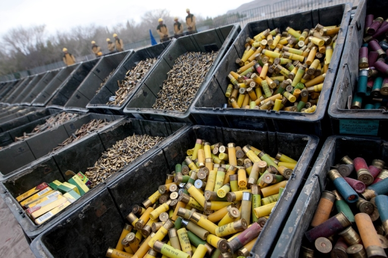<p>View of thousands of ammunitions to be destroyed in Ciudad Juarez, Chihuahua State, Mexico on February 16, 2012. At least 6000 rifles and pistols seized from drug cartels were destroyed by members of the Mexican Army.</p>