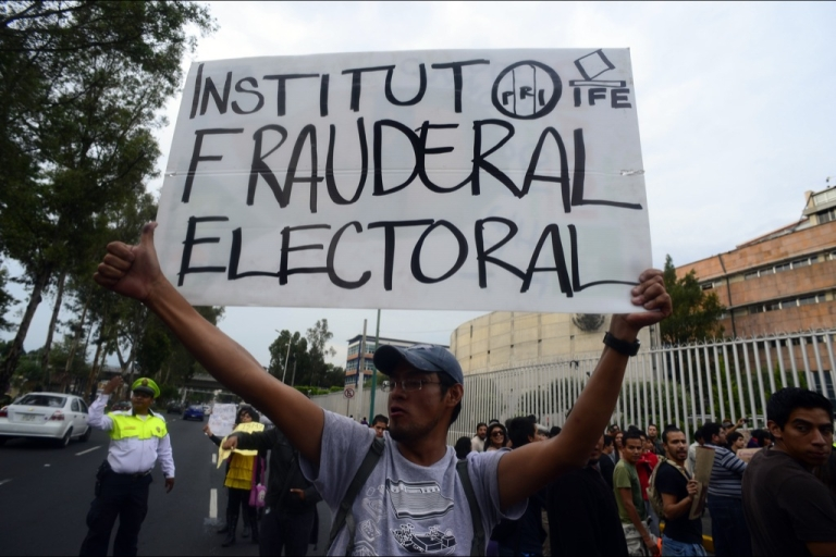 <p>Members of the movement 'YoSoy#132' and civil organizations take part in a protest against the election results, in Mexico City, on July 10. The movement is protesting against Enrique Pena Nieto, candidate of the Institutional Revolutionary Party (PRI), who declared victory in the presidential election, after first official results showed him with 38 percent of the vote.</p>