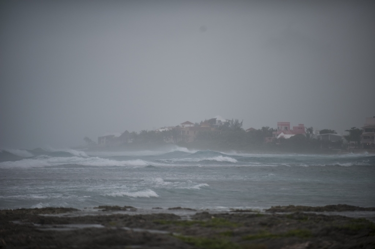 <p>Picture of Akumal bay taken as tropical storm Rina reaches the Mexican coast in Quintana Roo State on October 27, 2011.</p>