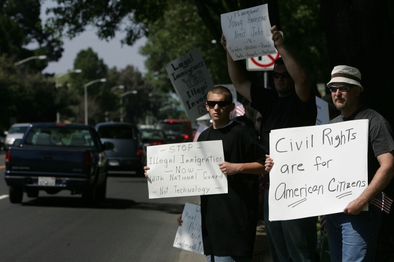 <p>Demonstrators protesting illegal immigration in California.</p>