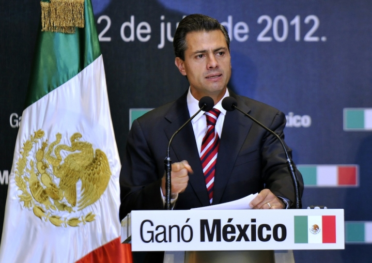 <p>President-elect Enrique Peña Nieto speaks during a press conference on July 2, 2012 in Mexico City.</p>