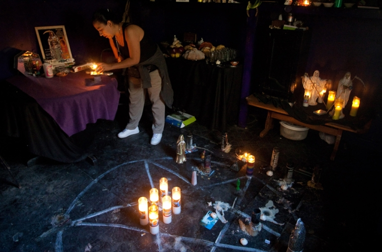 <p>Yolanda Salazar during one of the rituals to the Santa Muerte (Saint of Death) in the sanctuary placed at her home in Ciudad Juarez, Chihuahua state, Mexico on October 31, 2010.</p>