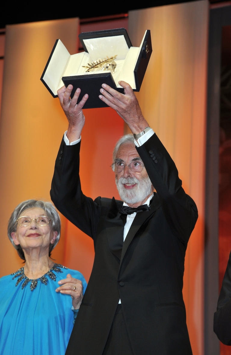 <p>Actress Emmanuelle Riva and director Michael Haneke with the Palme D'Or for