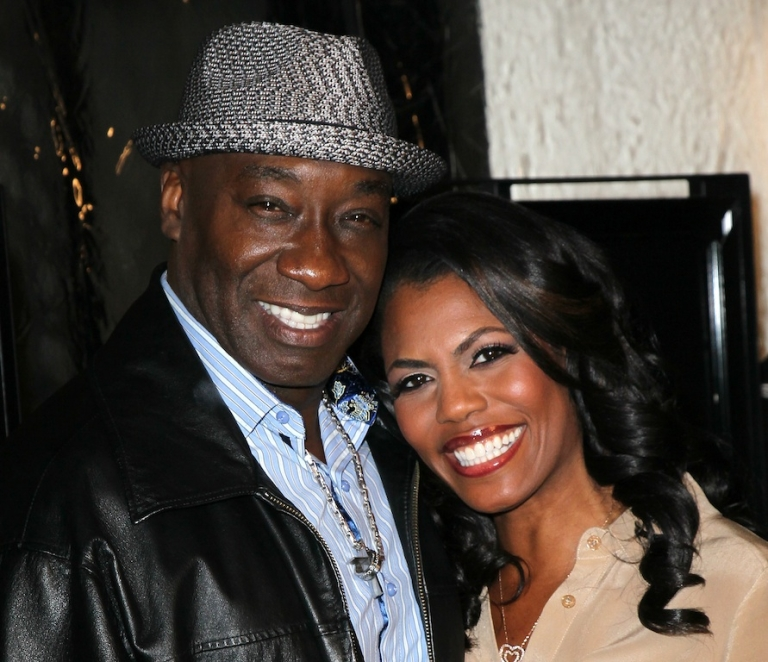 <p>Michael Clarke Duncan and his fiancée Reverend Omarosa Manigault on February 13, 2012.</p>