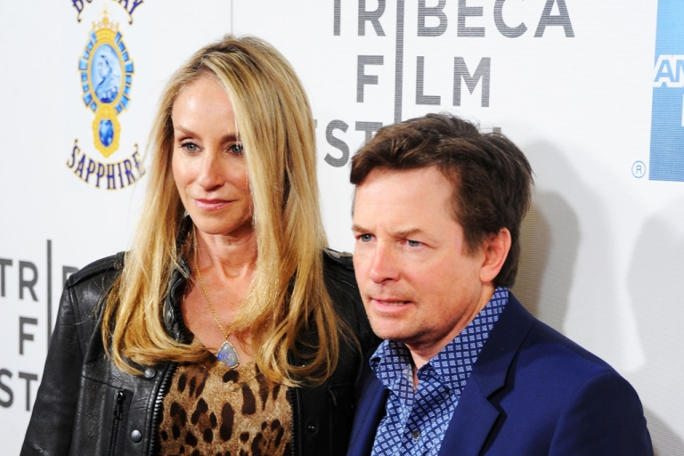 <p>Actors Tracy Pollan and Michael J. Fox attend