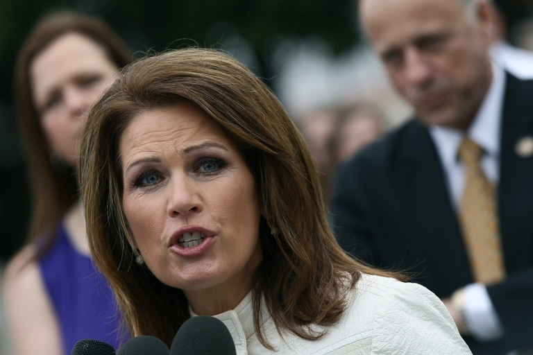 <p>US Rep. Michele Bachmann speaks at a press conference outside the US Capitol on March 21, 2012 in Washington, DC.</p>