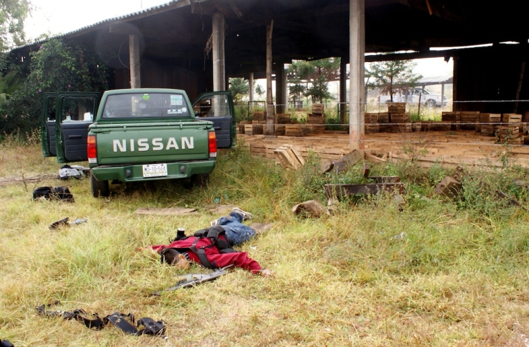 <p>A cartel gunmen is shot dead by soldiers in Michoacan, Mexico</p>
