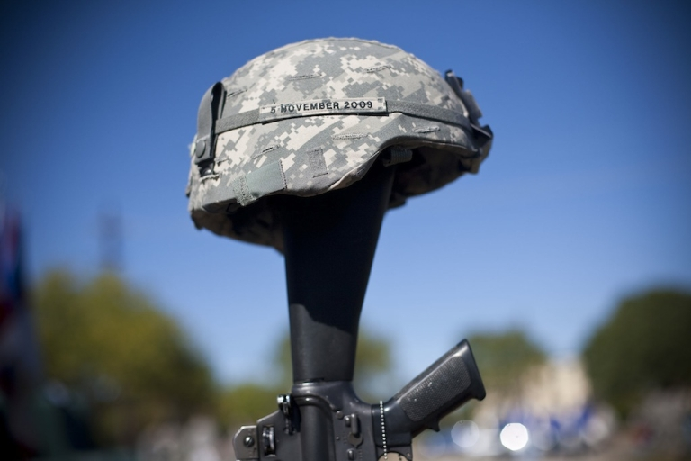 <p>A soldiers memorial commemorates Nov. 5, 2009, when army psychiatrist Major Nidal Malik Hasan murdered 13 people and wounded 30 in the Ft. Hood attacks in Killeen, Texas.</p>