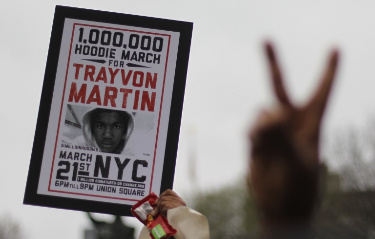 <p>NEW YORK, NY - MARCH 21: Supporters of Trayvon Martin rally in Union Square during a 'Million Hoodie March' in Manhattan on March 21, 2012 in New York City. Thousands of protesters turned out to demonstrate against the killing of the black unarmed teenager by a white neighborhood watch captain. The protesters marched through the streets after holding a large rally in Union Square.</p>