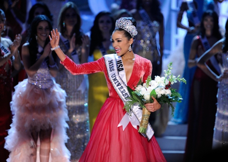 <p>Miss USA, Olivia Culpo, waves after being crowned Miss Universe.</p>