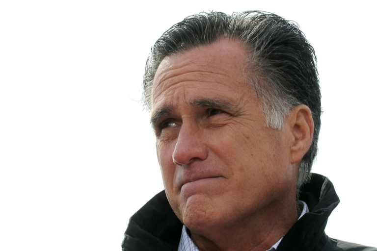 <p>Republican presidential candidate, former Massachusetts Gov. Mitt Romney speaks to supporters at a rally on a farm on October 9, 2012 near Van Meter, Iowa.</p>