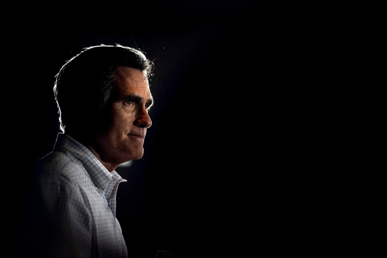 <p>Mitt Romney addresses supporters as he campaigns during a town hall forum at the American Legion Post 109 on March 21, 2012 in Arbutus, Maryland.</p>