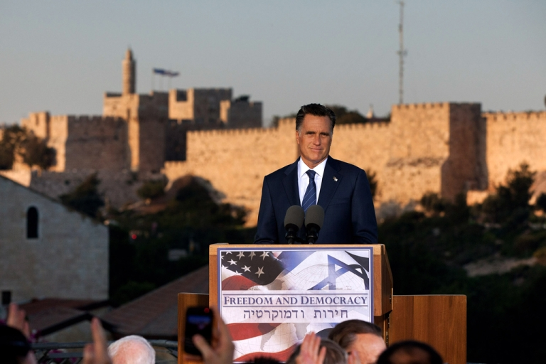 <p>US Republican presidential candidate, former Massachusetts Gov. Mitt Romney delivers a speech outside the Old City on July 29, 2012 in Jerusalem, Israel. Romney stated that he backs Israel's right to defend itself against the threat of a nuclear Iran. He is in Israel as part of a three-nation foreign diplomatic tour which also includes visits to Poland and Great Britain.</p>