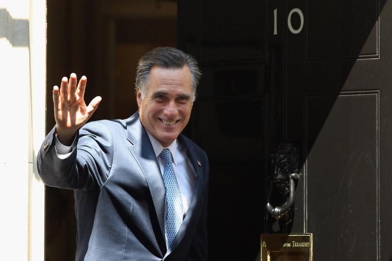 <p>Mitt Romney, the presumptive Republican nominee for the presidential election, arrives at 10 Downing Street to meet with British Prime Minister David Cameron on July 26, 2012 in London, England. Mitt Romney is meeting various leaders, past and present, on his visit to the UK including Tony Blair, Ed Miliband and Nick Clegg.</p>