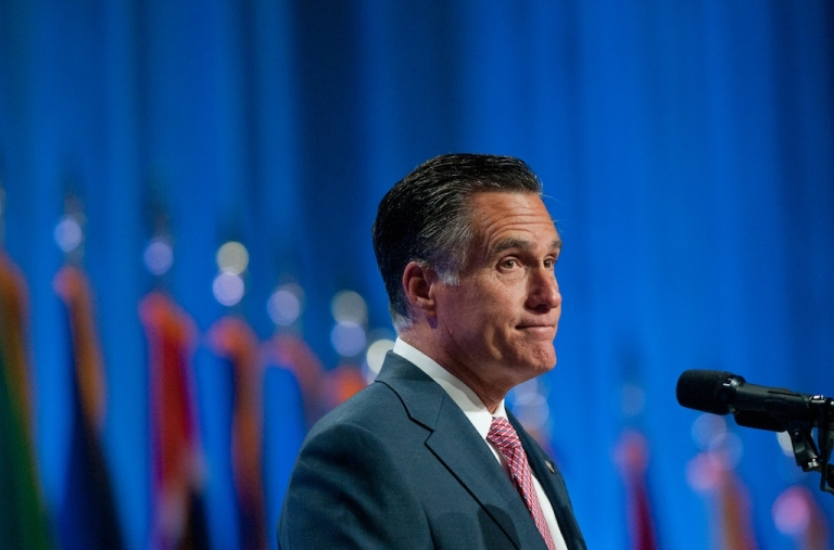 <p>Republican presidential candidate, former Massachusetts Gov. Mitt Romney addresses the crowd at the 134th National Guard Association Convention at the Reno-Sparks Convention Center, September 11, 2012 in Reno, Nevada.</p>