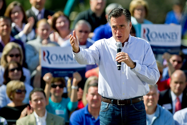 <p>Republican presidential candidate, former Massachusetts Gov. Mitt Romney speaks to supporters during a campaign stop at Kirkwood Park March 13, 2012 in Kirkwood, Missouri. As the race for delegates continues, the latest Pew Poll has put Obama ahead of Romney.</p>