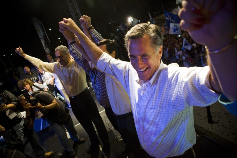 <p>Republican presidential candidate, former Massachusetts Gov. Mitt Romney attends a New Progressive Party rally on the North Side of the Capitol building March 16, 2012 in San Juan, Puerto Rico.</p>