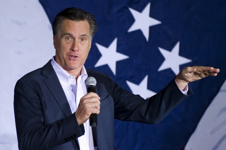 <p>Republican presidential candidate Mitt Romney speaks at a rally in Zanesville, Ohio, March 5, 2012, ahead of voting on Super Tuesday.</p>