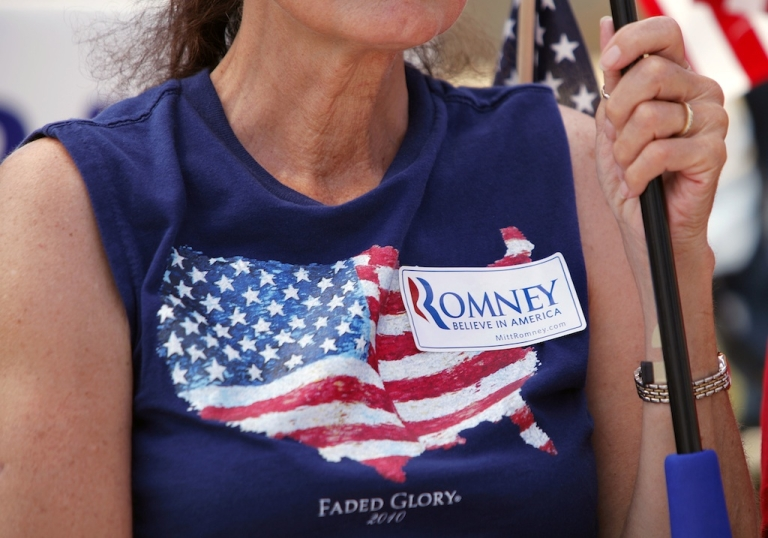 <p>A supporter of Republican presidential candidate Mitt Romney. Where was this T-shirt made?</p>