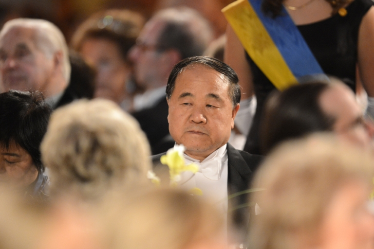 <p>Mo Yan at the Nobel Banquet at the Stockholm City Hall, on Dec. 10, 2012.</p>